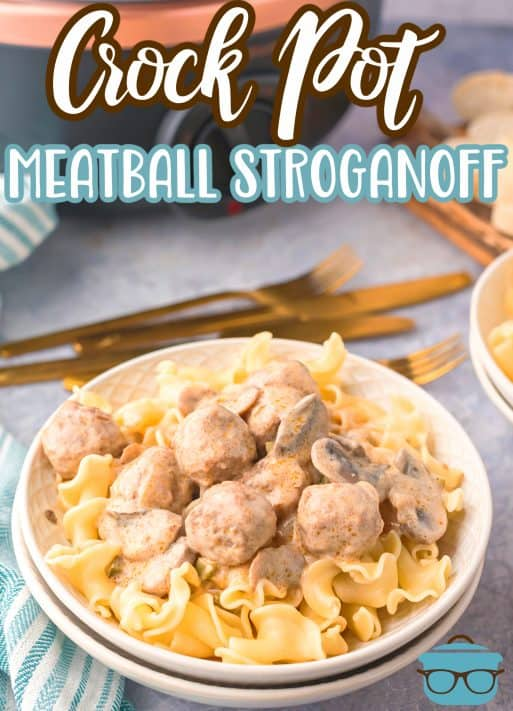 Bowl of Crock Pot Meatball Stroganoff Pinterest Image