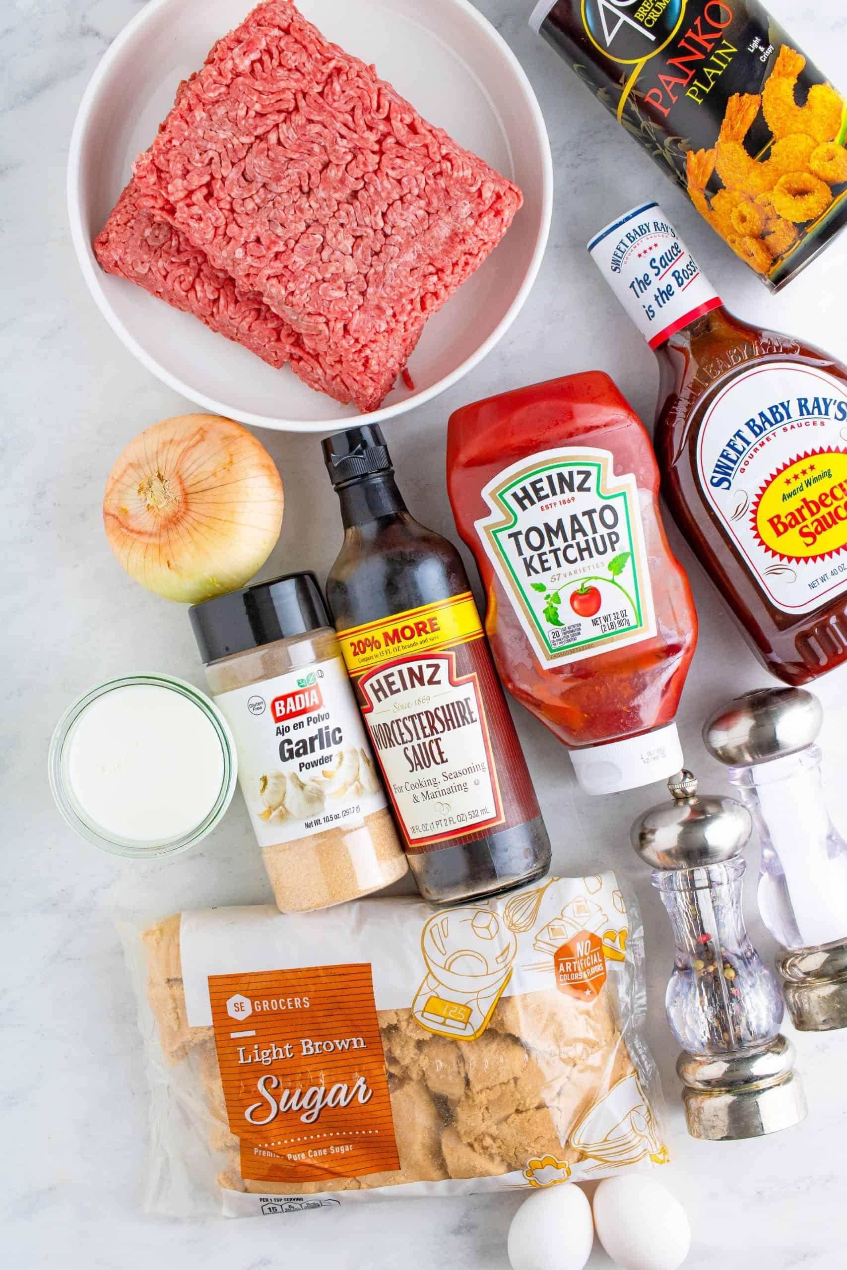 Ingredients needed to make Crock Pot Meatloaf