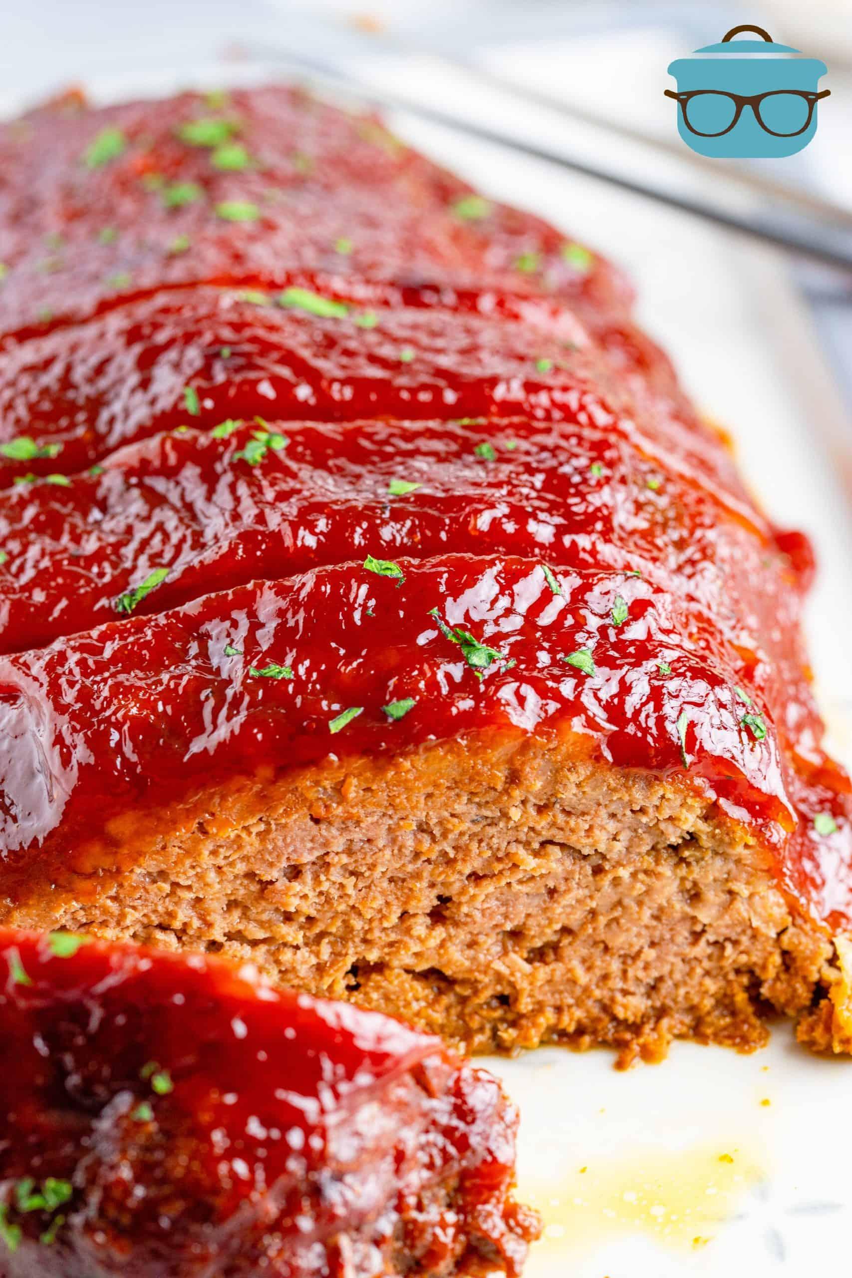 Close up of sliced Crock Pot Meatloaf