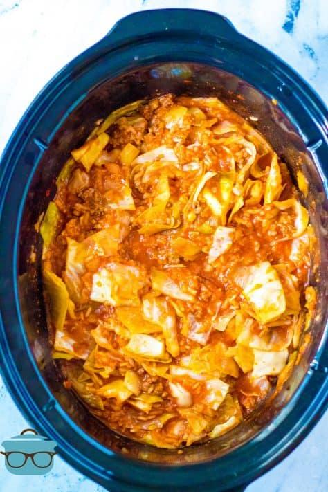 Finished Crock Pot Unstuffed Cabbage Rolls