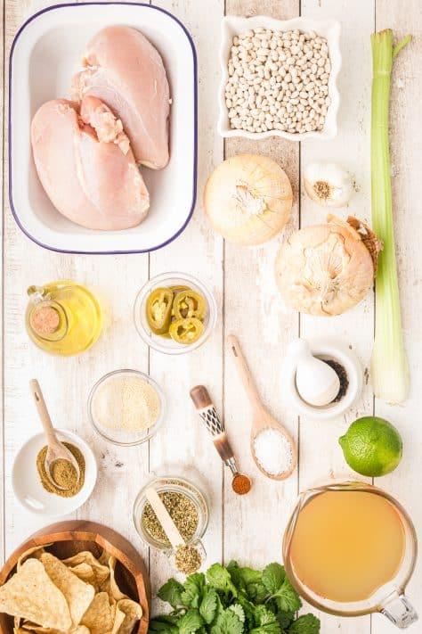 Ingredients needed to make Crock Pot White Chicken Chili