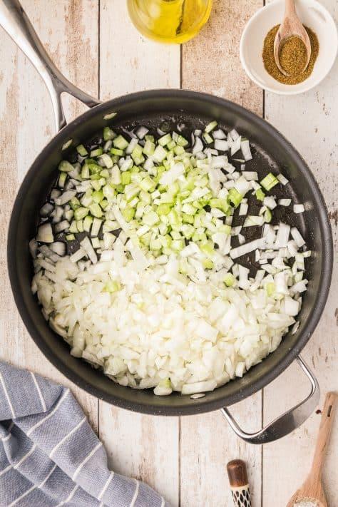 Vegetables cooking in pan