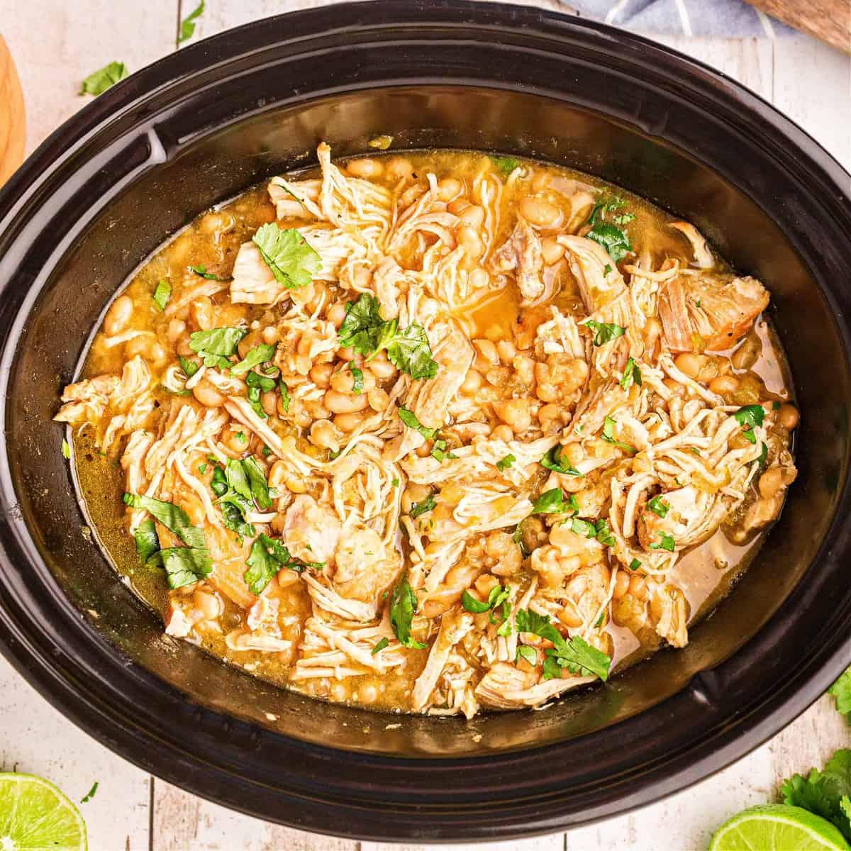 White Chicken Chili in Crock Pot square image