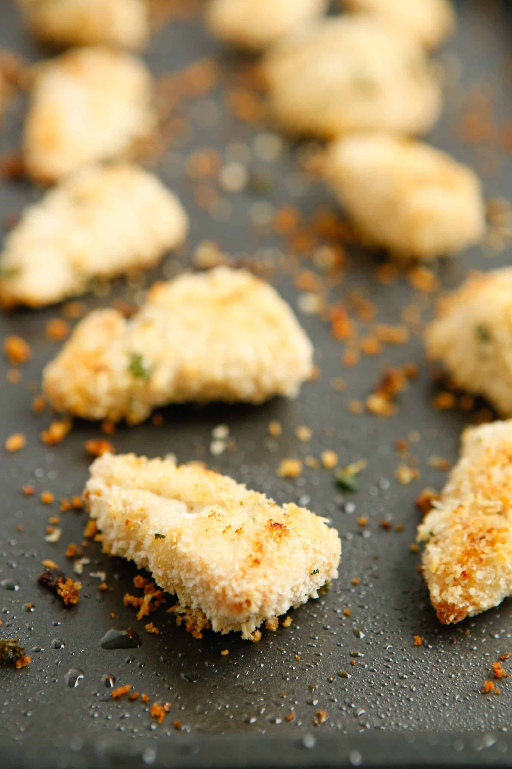 fully Baked Ranch Chicken Nuggets on baking pan.