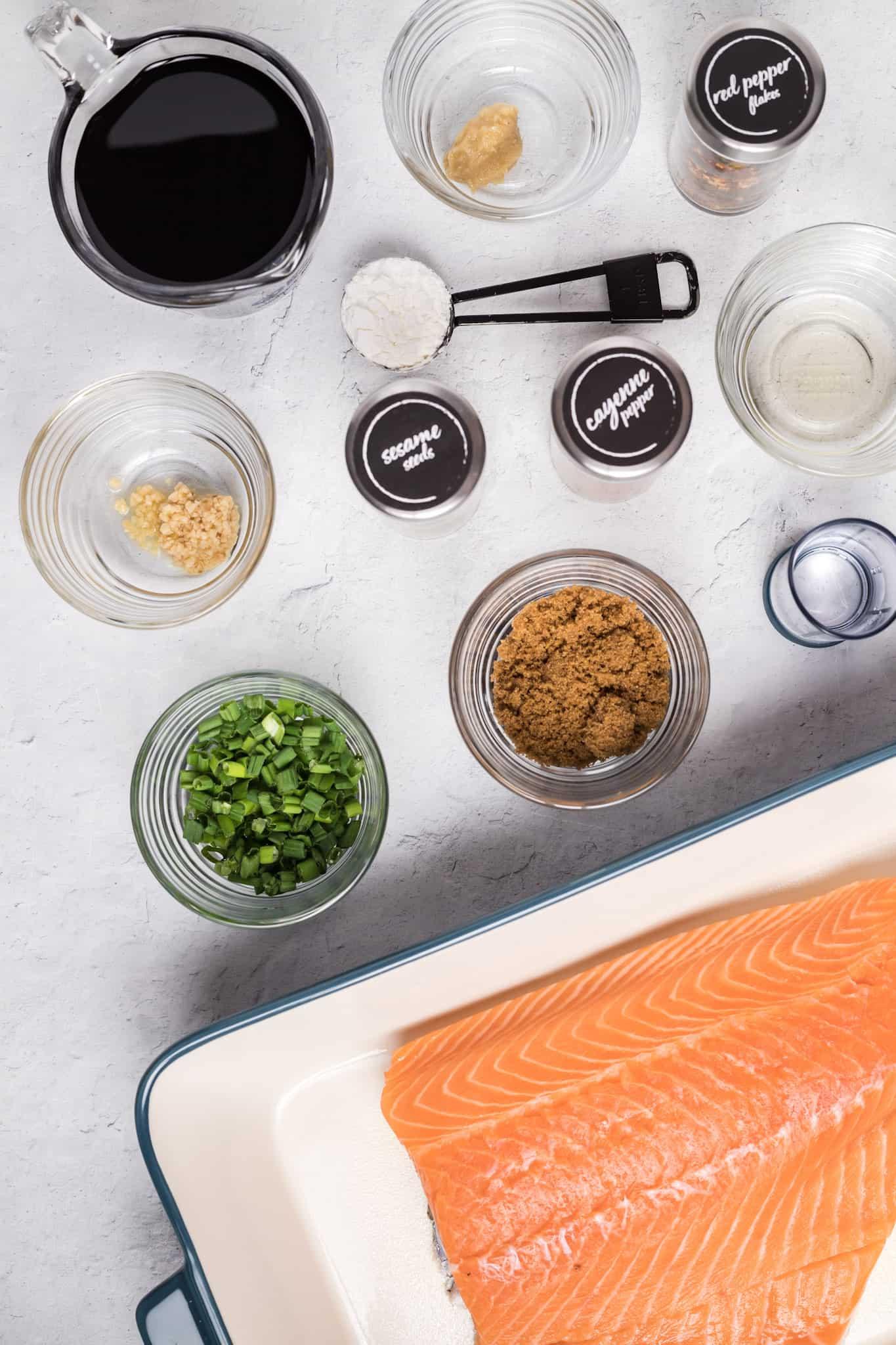 ingredients to make teriyaki salmon: center cut salmon, soy sauce, minced ginger, minced garlic, cornstarch, water, brown sugar, rice vinegar, sesame seeds, cayenne pepper, green onions.