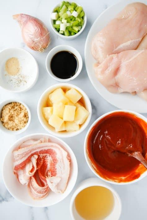 Ingredientes necessários para fazer frango com abacaxi para churrasco