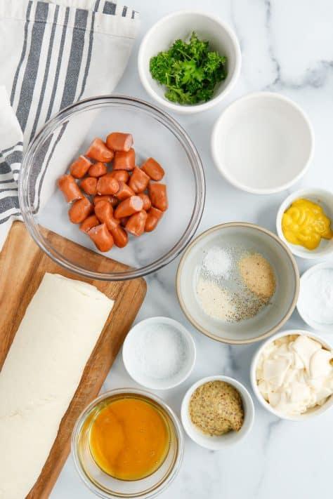 Ingredients needed to make Stuffed Pretzel Bites