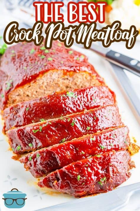 Imagem aérea de fatias de Crock Pot Meatloaf Pinterest