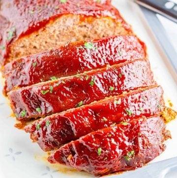Close up of sliced Crock Pot Meatloaf square image