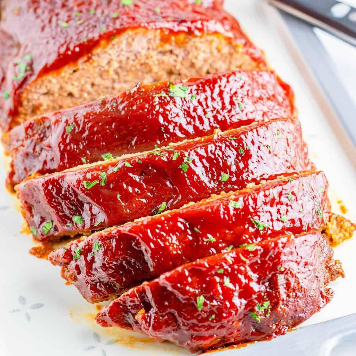 Close up of sliced Crock Pot Meatloaf square image