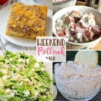 Weekend Potluck recipes: Sausage, Egg & Cheese Casserole, Overnight Lettuce Salad, Shrimp Dip and Grandma's Cottage Cheese Salad