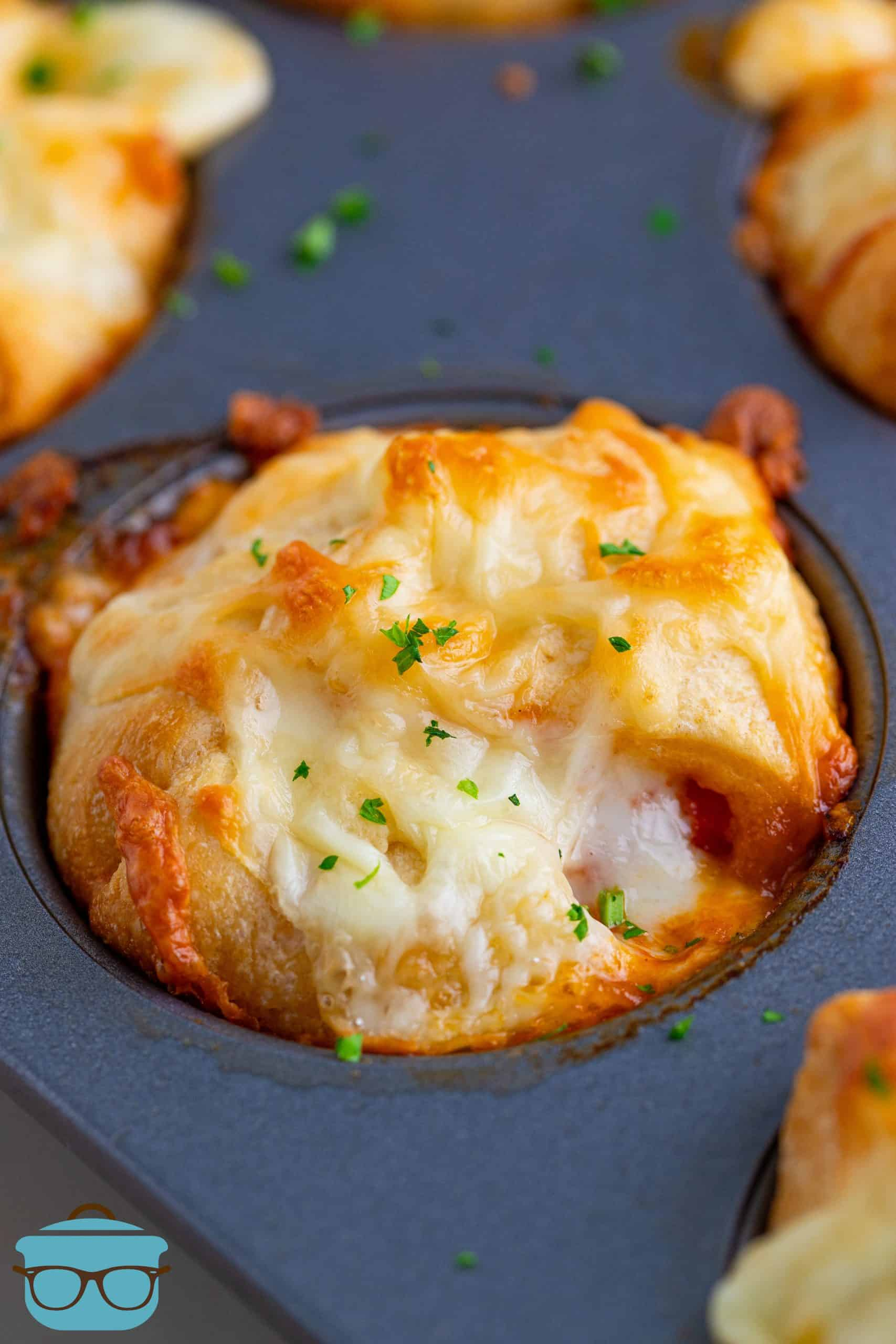 Finished baked Chicken Parmesan Cup in muffin tin.