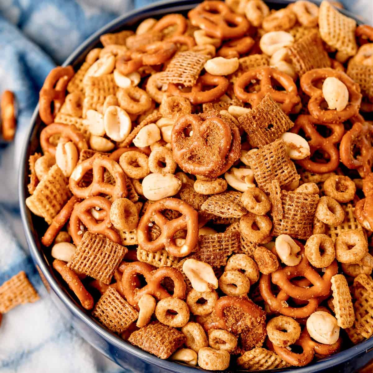 Overhead close up of The Best Party Chex Mix in bowl thumbnail