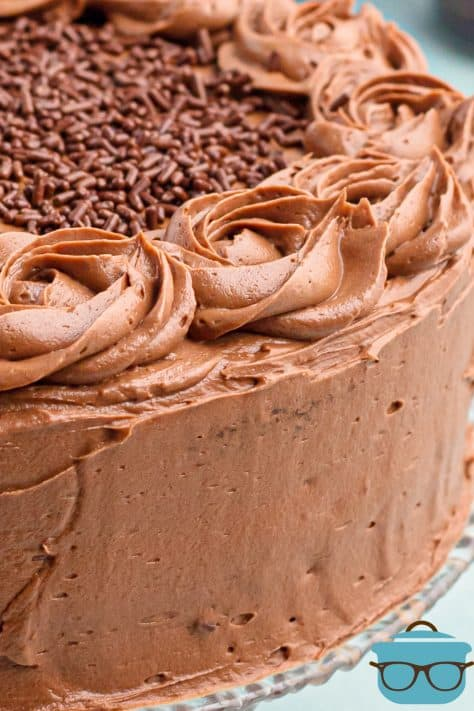 Guinness Chocolate Buttercream Frosting on side and top of cake
