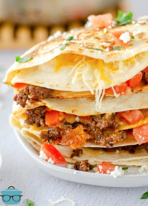 Close up of Taco Quesadillas on white plate