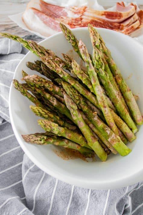 Asparagus coated in seasonings