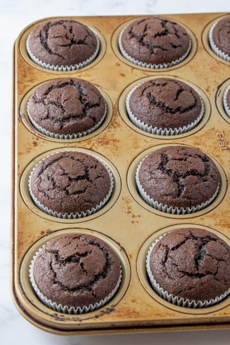 Baked up cupcakes in muffin tin