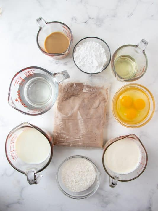 Ingredients needed to make Bailey's Chocolate Poke Cake