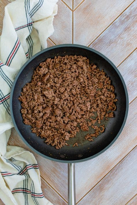 Ground beef cooked in pan