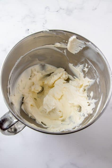 Cream Cheese heated in stand mixer