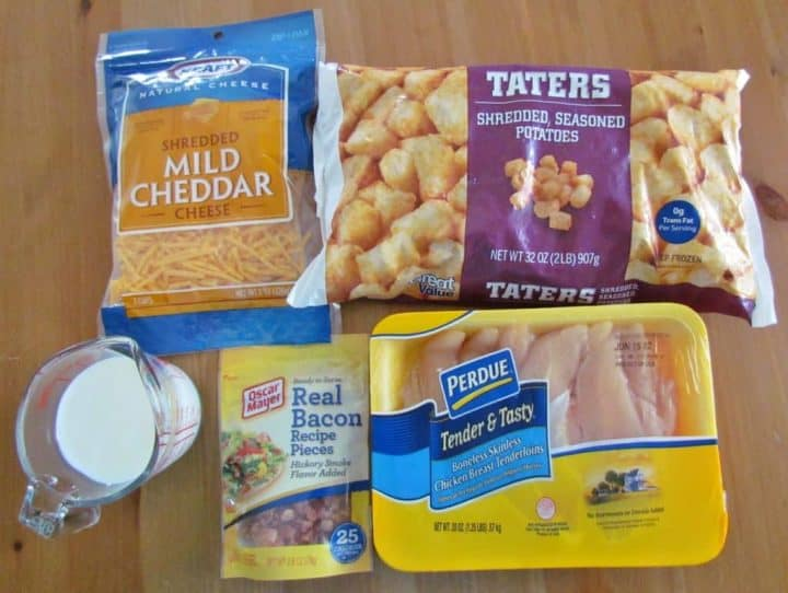 ingredients shown: frozen tater tots bacon pieces boneless, skinless chicken breasts shredded cheddar cheese milk.