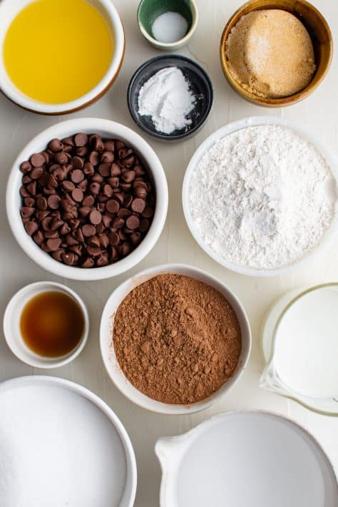 Ingredients needed to make Homemade Chocolate Cobbler