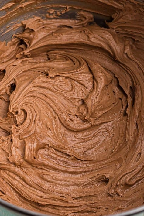 Close up of finished Guinness Chocolate Butter Cream Frosting