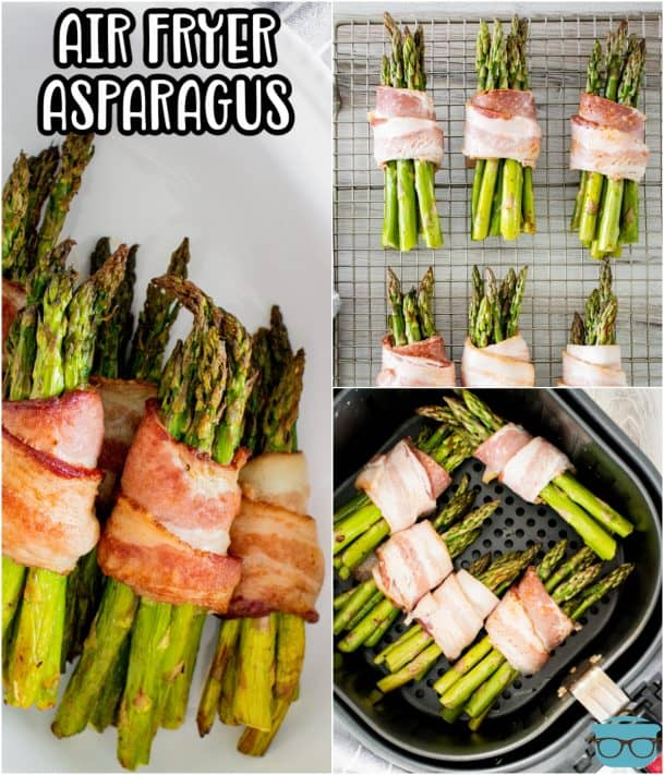 Collage image of Air Fryer Bacon Wrapped Asparagus