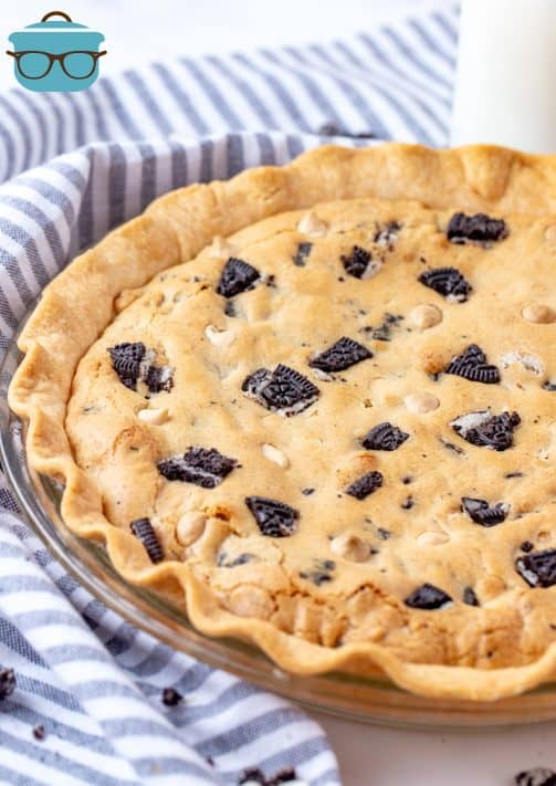 Baked Oreo Cookie Pie right out of oven in pie plate