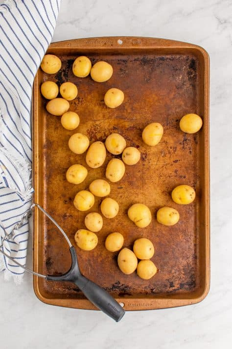 Potatoes on sheet pan