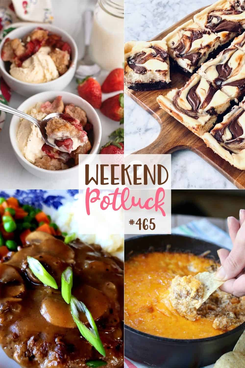 Receitas de fim de semana Potluck: Cream Cheese Morango Cobbler, Southern Salisbury Steak, Nutella Cheesecake Brownies e Taco Dip!