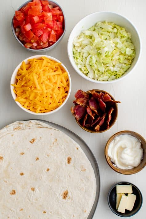 Ingredients needed to make a BLT Quesadilla