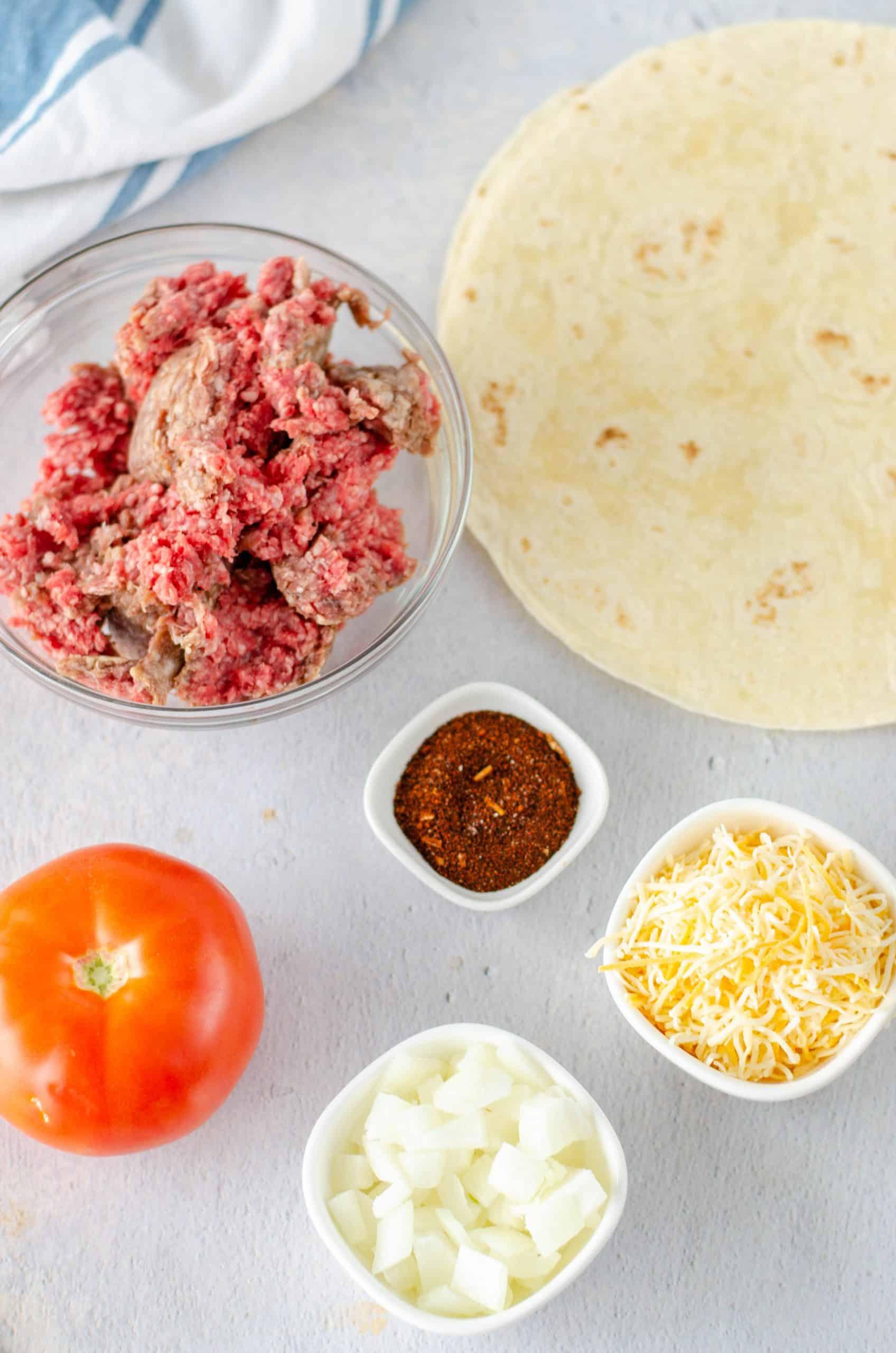 Ingredients needed to make Taco Quesadillas