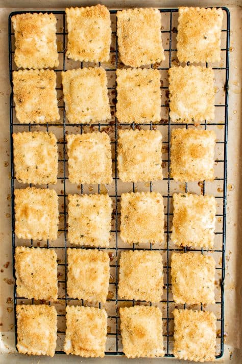 Finished Easy Toasted Ravioli on wire rack