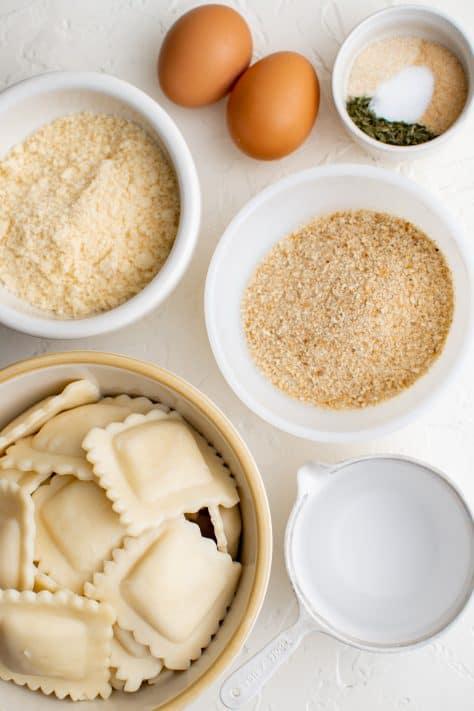 Ingredients needed to make Easy Toasted Ravioli