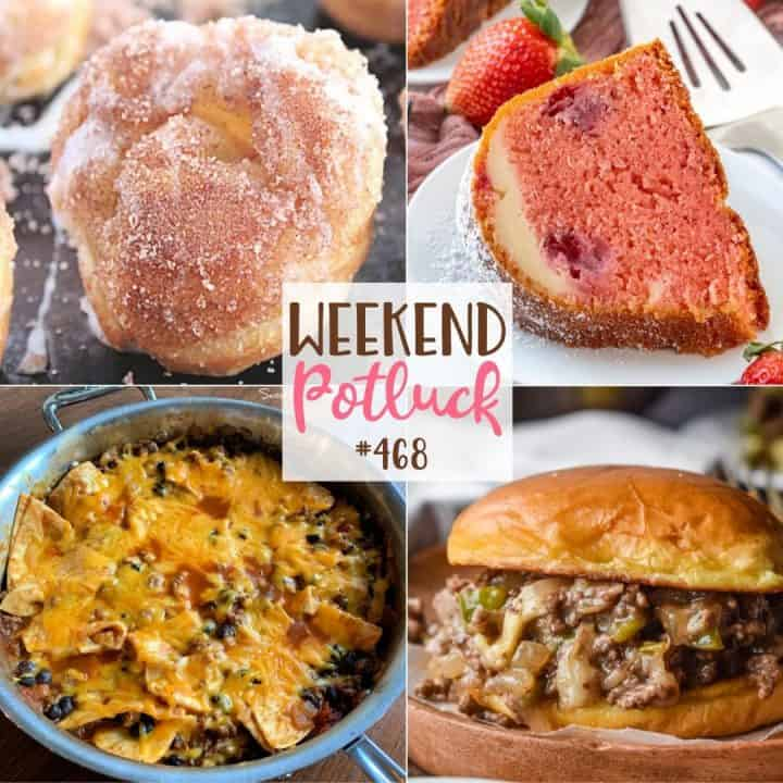 Weekend Potluck Featured Recipes: Puff Pastry Cinnamon Sugar Muffins, Strawberry Cheesecake Bundt Cake, Philly Cheesesteak Sloppy Joes and Easy Cheesy Beef Burrito Skillet