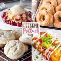 Weekend Potluck featured recipes: Cherry Cheesecake Dump Cake, Amish Sugar Cookies, Air Fryer Donuts and Chicken Enchiladas with Red Sauce.