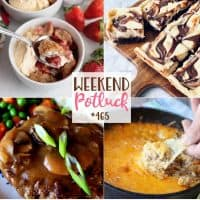 Weekend Potluck featured recipes: Cream Cheese Strawberry Cobbler, Southern Salisbury Steak, Nutella Cheesecake Brownies and Taco Dip!