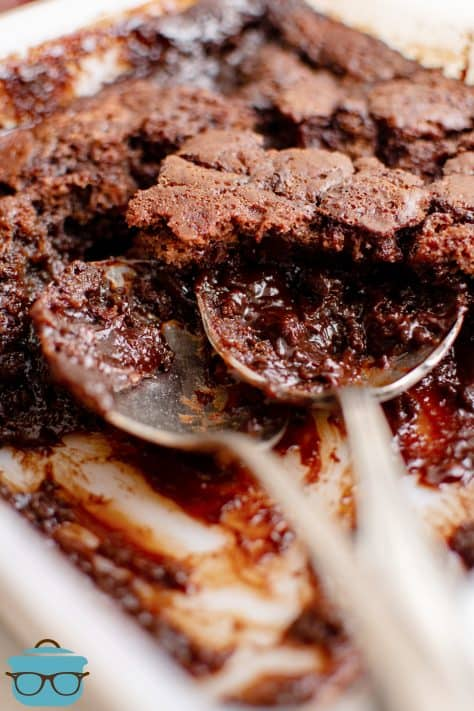 Two spoons in Homemade Chocolate Cobbler dish