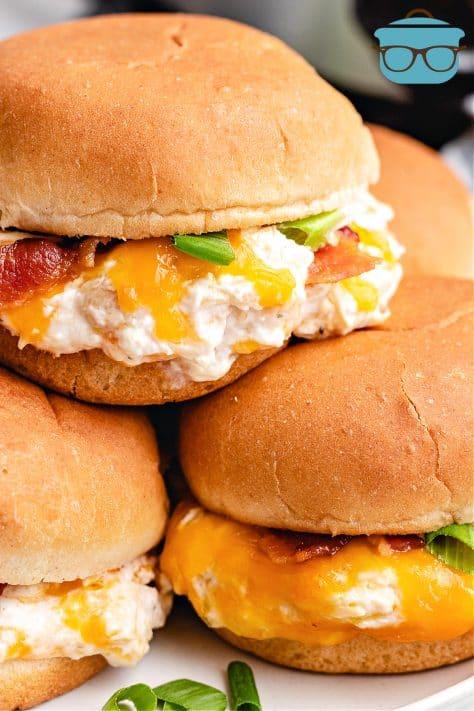 Crock Pot Crack Chicken on sandwich buns stacked