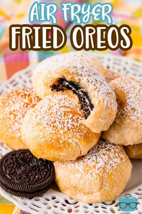 Air Fryer Fried Oreos close up stacked with bite taken out of top one Pinterest Image