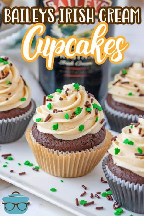 Three Homemade Baileys Cupcakes on white platter Pinterest image