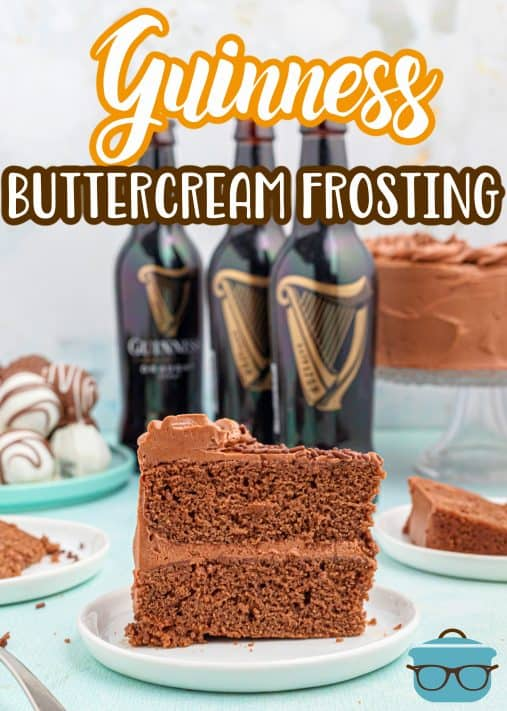Slice of cake with layers of Guinness Buttercream Chocolate Frosting Recipe