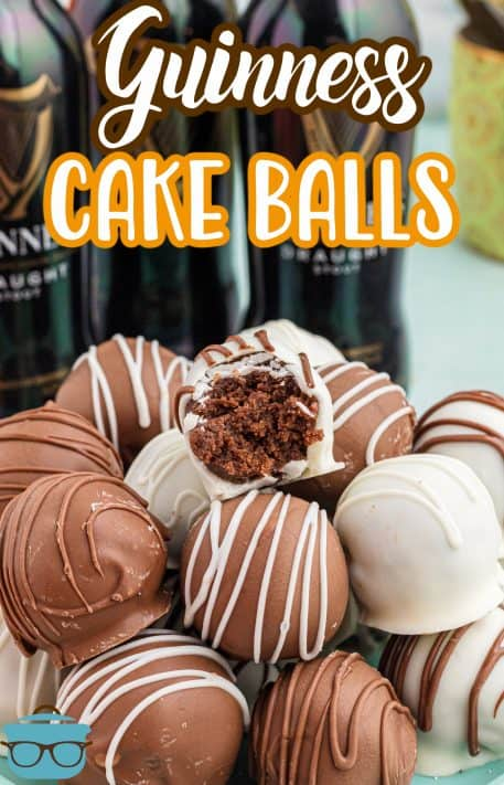Guinness Cake Balls stacked on plate with bite taken out of one Pinterest image