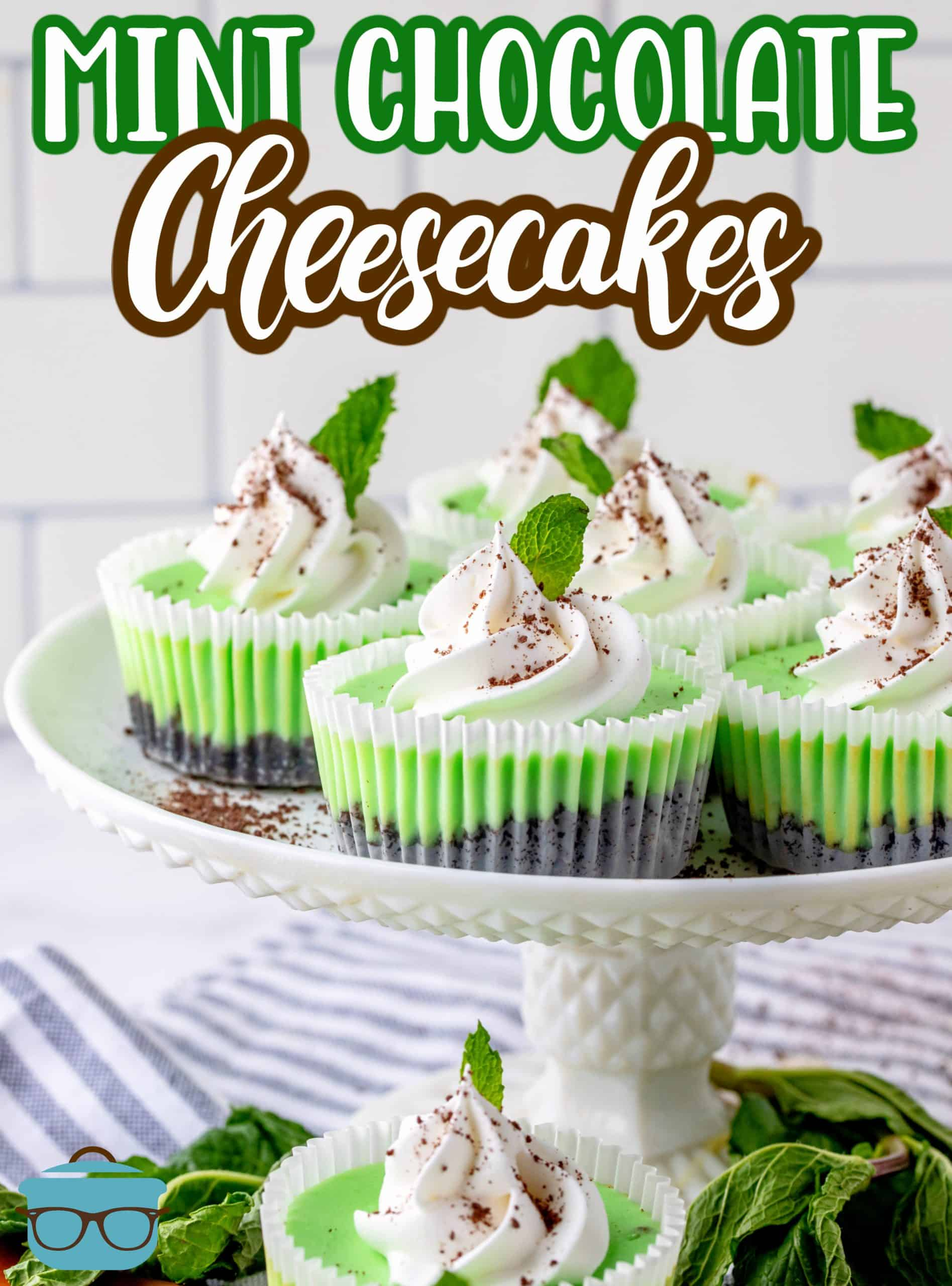 These Mini Mint Chocolate Cheesecakes are a delicious single serving dessert that are easy to make and bake! They can serve a crowd and have the perfect chocolate mint flavor.