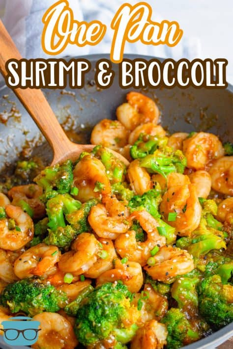 One Pan Shrimp and Broccoli in pan with serving spoon