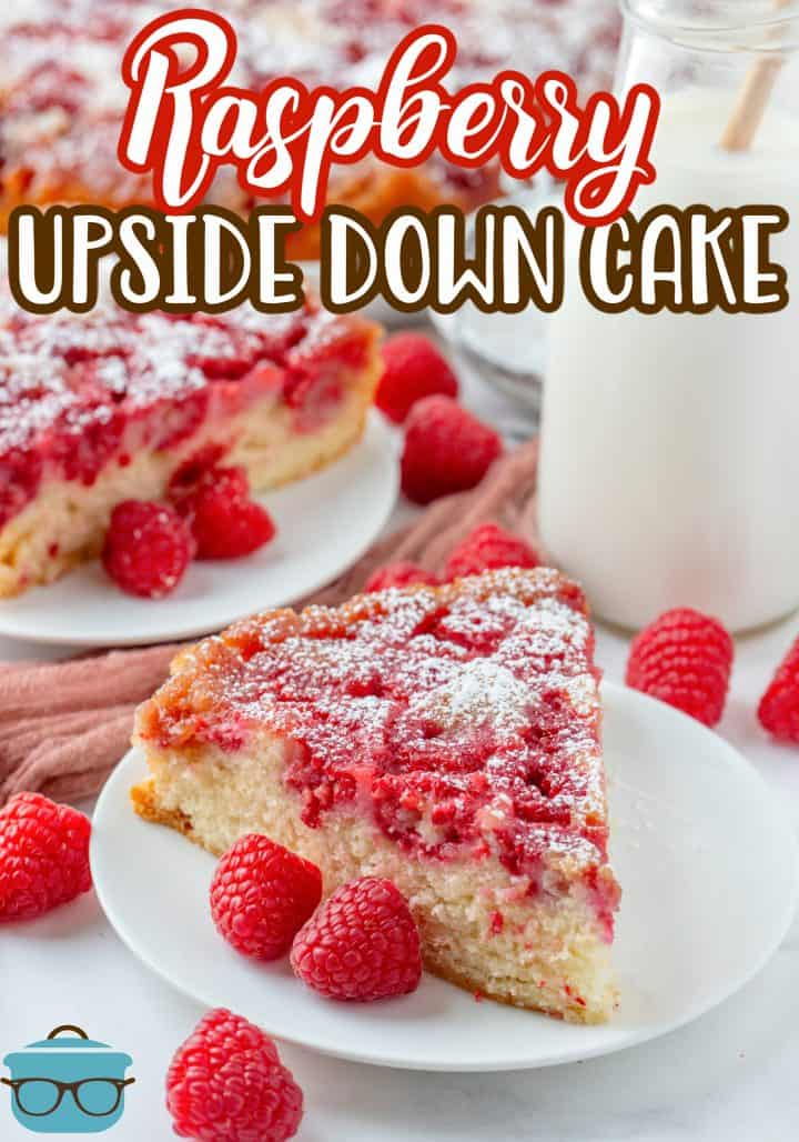 Two slices of Raspberry Upside down cake topped with powdered sugar Pinterest Image