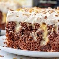 Close up of side of slice of poke cake showing pudding mixture thumbnail image