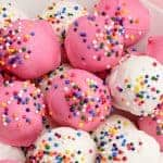 Close up of white and pink Circus Animal Cookie Balls thumbnail image