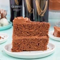 Slice of Guinness Chocolate Cake on white plate thumbnail image